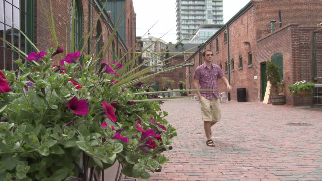 MS Man walking down coblestone walkway with flowers in front of historic distillery district / Toronto, Ontario, Canada