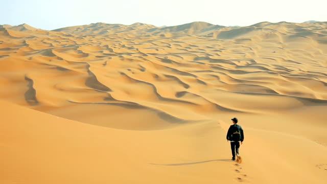 man walking in desert - impronta del piede video stock e b–roll