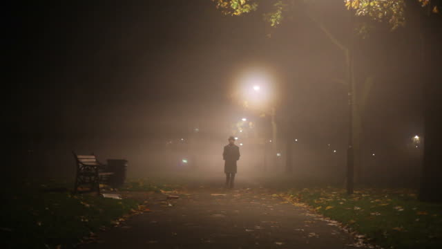 man walking in the mist - park bench stock videos & royalty-free footage