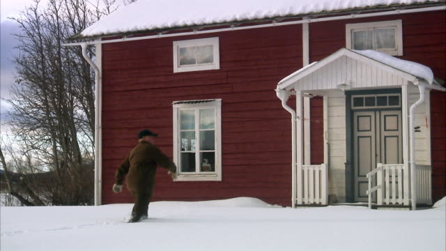 a man walking in the snow sweden. - arrival stock videos & royalty-free footage