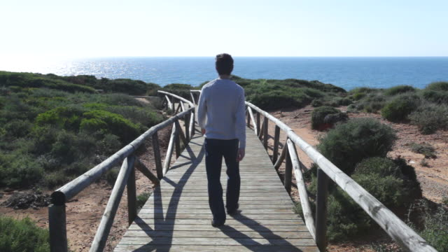 man walking in wood walk way with the sea - silvestre stock videos & royalty-free footage