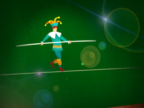 man walking on a tightrope - tightrope walking stock videos & royalty-free footage