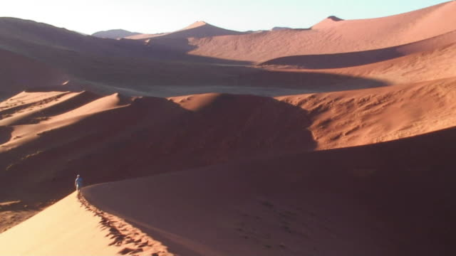 ws ha man walking on sand dune ridge / dead vlei, namib desert, namibia - 荒野点の映像素材/bロール