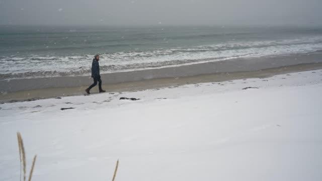 man walking on seaside in winter on lofoten island - nordland county stock videos & royalty-free footage