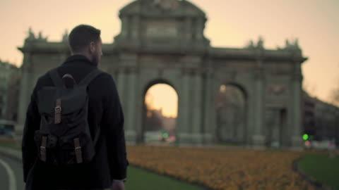 man walking on sidewalk - madrid stock videos & royalty-free footage