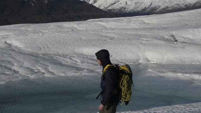 WS TS TU TD Man walking on snow in colony glacier
