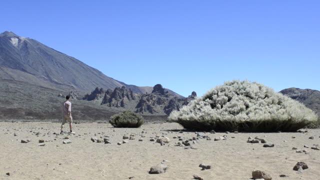 Homem a andar no deserto de Montanha-do Teide