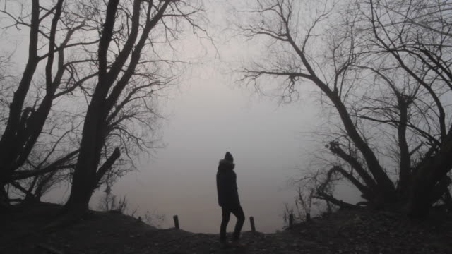 a man walking past an eerie lake in winter - weitwinkelaufnahme stock-videos und b-roll-filmmaterial