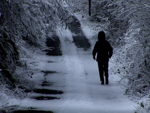 A man walking through forest road during winter season in United States