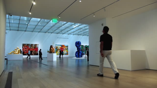 ws man walking through large exhibit halls in broad contemporary art museum / los angles, california, usa - museum stock videos & royalty-free footage