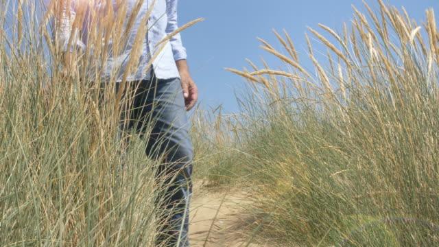 man walking through long marram grass. - marram grass stock videos and b-roll footage