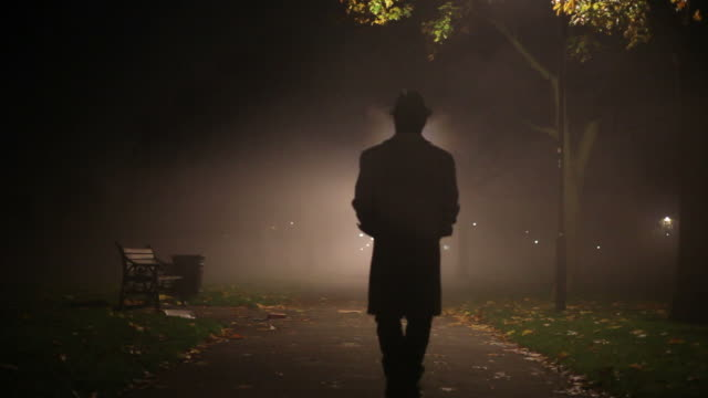man walking through mist in the park