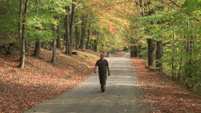 A man walking through the forest road in Vermont United States