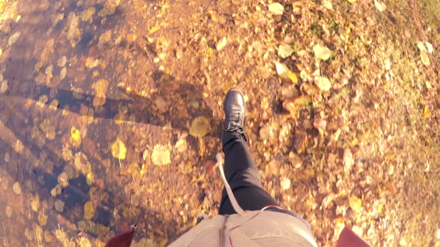 man walking through yellow autumn leaves - thoroughfare stock videos and b-roll footage