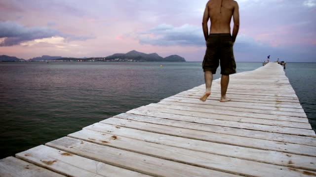 man walking - pier stock videos & royalty-free footage