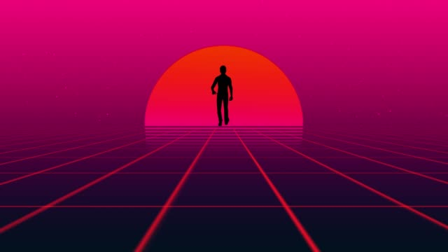 man walking wireframe net and cloud 80s retro style neon noir - retro poster stock videos & royalty-free footage