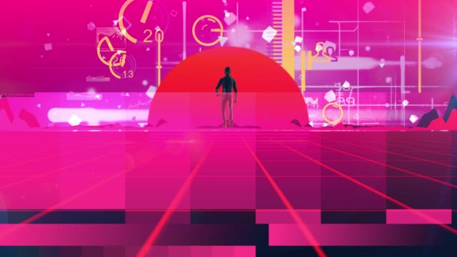 man walking wireframe net and cloud 80s retro style neon noir - 1980 stock videos & royalty-free footage