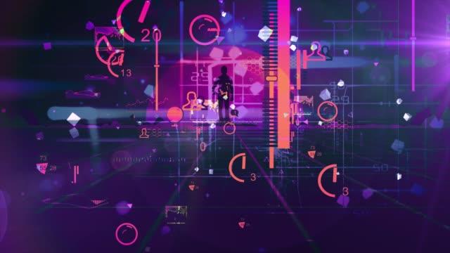 mann zu fuß wireframe net und wolke 80er jahre retro-stil neon noir - computerfehler stock-videos und b-roll-filmmaterial