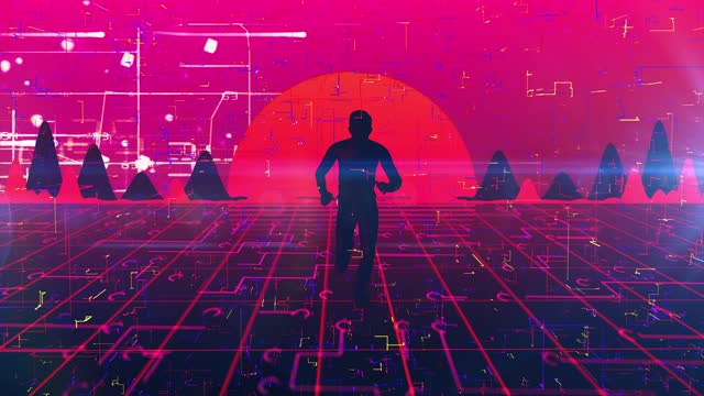 man walking wireframe net and cloud 80s retro style neon noir - complexity stock videos & royalty-free footage