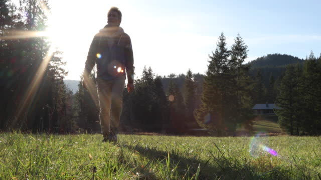 man walks across green field away from forest, home - only mature men stock videos & royalty-free footage