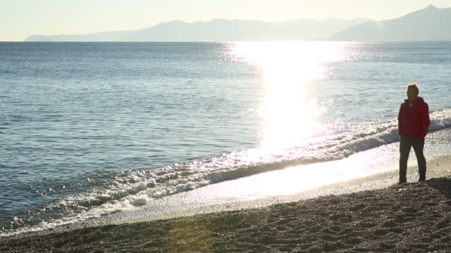 man walks along beach near surf edge, sunrise - only mature men stock videos & royalty-free footage