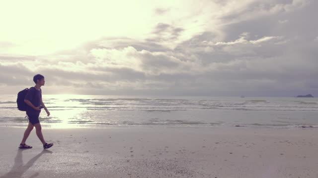 man walks along beach near surf edge, sunrise - top video stock e b–roll