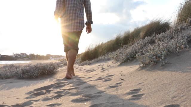 男は日の出でビーチの草の間を歩く - 方向点の映像素材/bロール