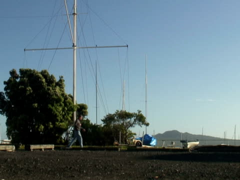 Man Walks Dog In Front Of Mast And Volcano