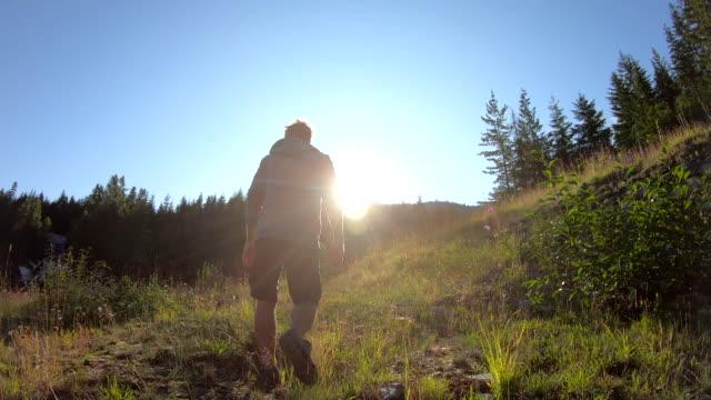 男は日の出時に山の草原を歩く - 方向点の映像素材/bロール