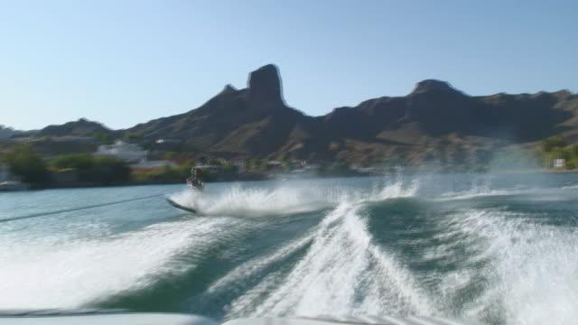 WS POV Man Waterskiing on Colorado River / Parker (Colorado River), Arizona, USA