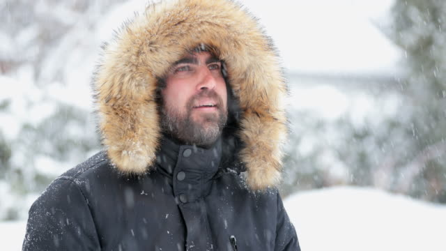 Man wearing fur coat during snowstorm