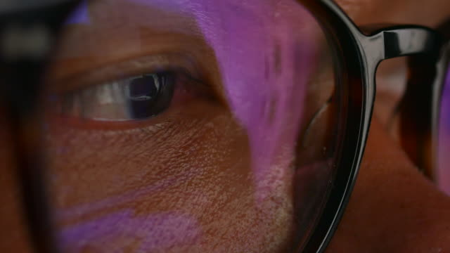 man wearing glasses looking monitor - hologram stock videos & royalty-free footage