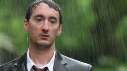 Man wearing suit standing in rain