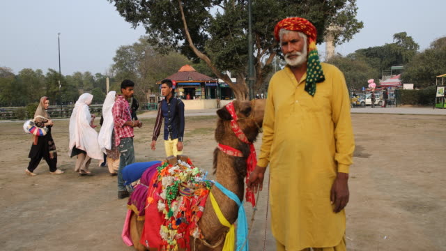 Man wearing turban and Shalwar kameez typical Pakistani male attire and adorned camel In background men in western clothes and women with headscarfs