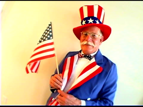 man wearing uncle sam costume - uncle sam stock videos & royalty-free footage