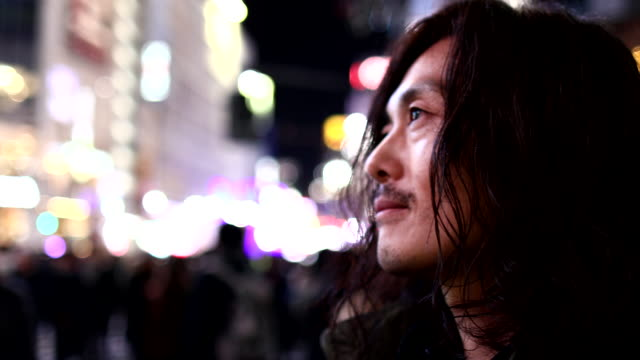 a man who came to shibuya scramble crossing - looking away stock videos & royalty-free footage