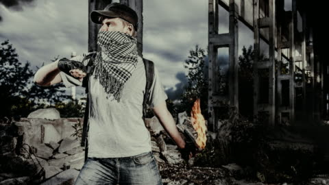 man with a molotov cocktail - terrorism stock videos & royalty-free footage