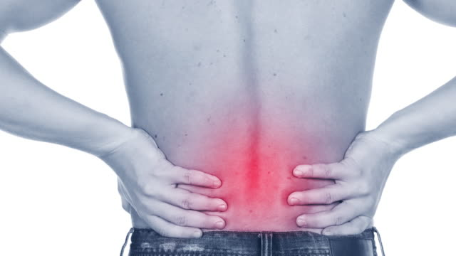 man with acute backache - osteoporosis stock videos & royalty-free footage