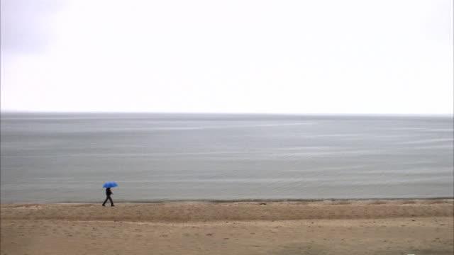 A man with an umbrella walking on the beach Angelholm Skane Sweden.