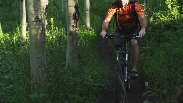 ms pan slo mo man with artificial limb riding mountain bike on forest trail / american fork canyon, utah, usa - american fork canyon点の映像素材/bロール