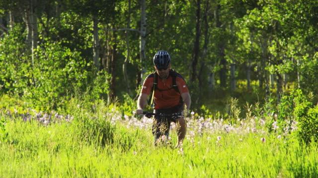 ms td pan man with artificial limb riding mountain bike through meadow / american fork canyon, utah, usa - american fork canyon点の映像素材/bロール