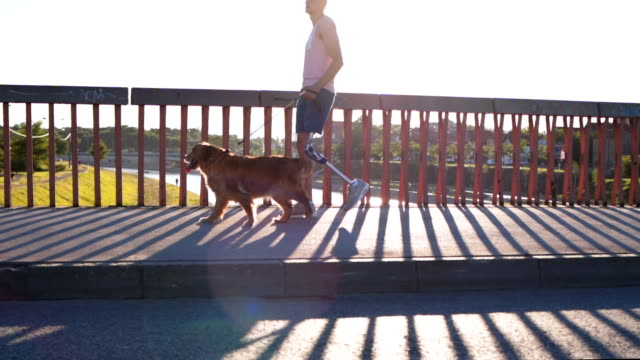 man with artificial limb walking his dog - vista laterale video stock e b–roll