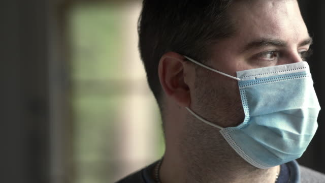 man with face mask - stubble stock videos & royalty-free footage