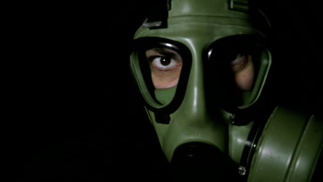 Man with gas mask.
