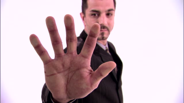Man with handprint