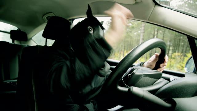 Mann mit Pferd Kopfmaske im Auto