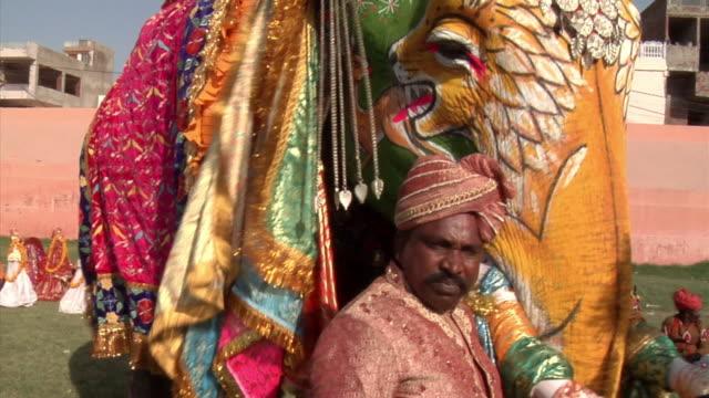 CU, Man with Indian elephant (Elephas maximus) at annual elephant festival, Jaipur,Rajasthan, India