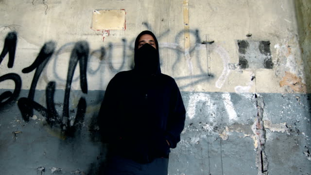 Man With Mask And Hoodie With Hands In Pockets