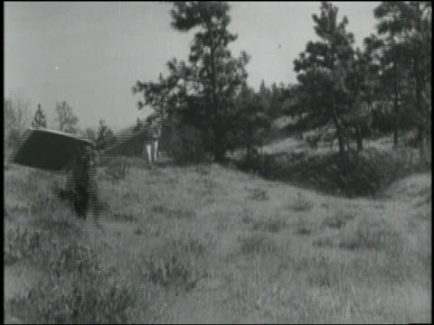 1934 b/w pan man (hank fadis) with square wings on arms running in field followed by dog / rowena, oregon - 1934 stock videos & royalty-free footage