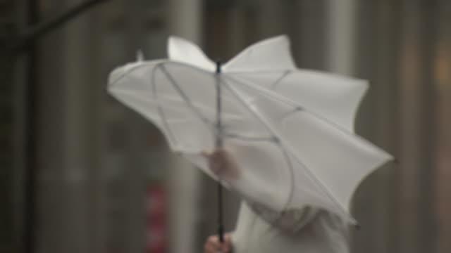 vídeos de stock e filmes b-roll de man with umbrella walking in storm, yokohama, japan - chapéu